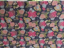 Indian Tropical Kantha Quilt Reversible Cotton Bedspread Handmade Bedding Throw