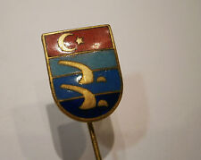 VINTAGE OLD TURKISH TURKEY BRASS ENAMEL BADGE PIN ORDER SWIMMING SPORT