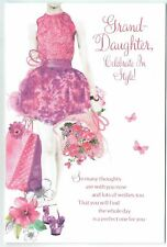 Granddaughter Birthday Card Embossed, Elegant With Sentiment Verse