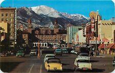 Pike's Peak Ave Colorado Springs Ute Hotel Arrow Ping old cars Postcard