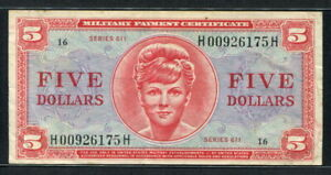 USA 1964, Military Payment, Series 611, 5 Dollar, H00613156H, M55, Fine