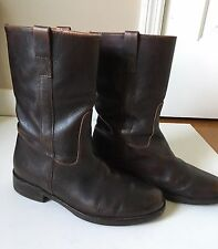 J. Crew Mid Calf Dark Brown Low Pull On Leather Biker Boots Size 8