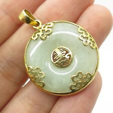 925 Sterling Silver Gold Plated Real Jade Gemstone Chinese Design Pendant
