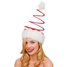 Cappello ROSSO BABBO NATALE A SPIRALE Festa Di Natale Unisex Costume Accessorio UK STOCK