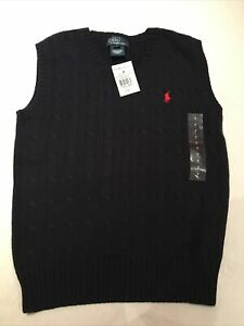 Boys Polo Ralph Lauren Navy Knitted Cable  Tank Top