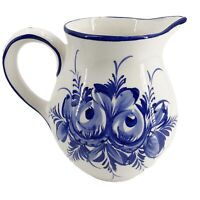 Vintage Antique Delft Blue Ware Pitcher Handpainted Holland Blue White Mark 932