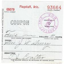 MONEY ORDER BUSINESS-RECEIPT-FLAGSTAFF ARIZONA-DEC/19/1912-redeemed