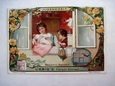 "Vintage Victorian Trade Card for ""Liebig's Fleisch-Extract"" Girl Feeding Dolly *"