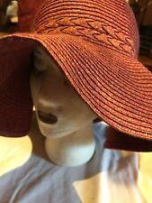 Vintage Pinkish Rosey Red Woven Floppy Straw Wide Brim Sun Hat