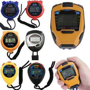 Electronic Digital LCD Timer Sport Stopwatch Date Time Alarm Counter Chronograph