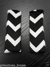 Baby Seat Belt Strap Covers Car Highchair Stroller- Black Minky Chevron MUST SEE