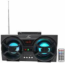 "NYC Acoustics NPB3 Dual 4"" 30w Bluetooth Boombox Speaker w/USB, SD, LED+Remote"