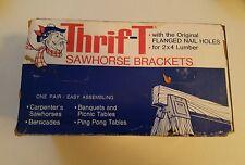 VINTAGE MID-CENTURY NIB PAIR OF THRIF-T HEAVY STEEL SAWHORSE BRACKETS
