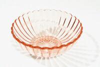 Vintage Hazel Atlas Pink Depression Glass Ribbed Flower Petal Bowl Starburst