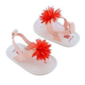 Carter's Flower Coral Orange Sandals Flip Flops Baby Infant Girls Size: 9-12