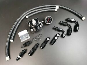Universal 0-100 Psi Adjustable Fuel Pressure Regulator Kit W/ Gauge Black -6AN