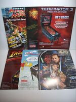 Pinball FLYERS 6 Different Games Star Wars T3 Simpsons Attack From Mars Lot #38