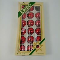 "17 Pyramid 1-3/4"" Glass Christmas Ornaments Vintage Red w/ Box"