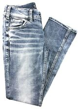 Silver Suki Mid Straight Low Rise Light Wash Jeans 25/30.  25x30