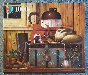 VINTAGE Milton Bradley Charles Wysocki WELLS FARGO 1000 pc puzzle COMPLETE RARE