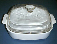 "CORNING WARE Microwave 10"" Browning Dish MW-A-10-B with PYREX Glass Lid A-12-C"