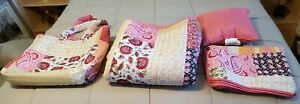 New 5 Piece Coral Boho Patchwork Quilt Set Essential Home Shams Queen Full