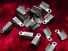 20 Endkappen eckig 8 x 4 mm für Lederband oder Kette silber