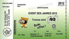 10 Einladungskarte Geburtstag Eintrittskarte Fußball Jedes Alter 30 40 60  Party