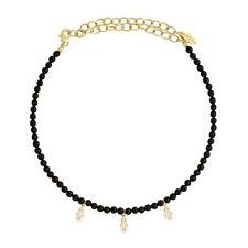 Triple Hamsa Charm Choker Necklace New/Nwt Limited Ed. Ettika Black Onyx Crystal
