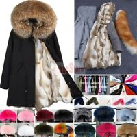 Women's Real Raccoon Fur Collar Coat Rabbit Fur Lined Long Jacket Hooded Parka