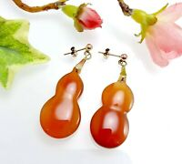 Antique Vintage 9 CT Gold Orange Carnelian Drop Earrings
