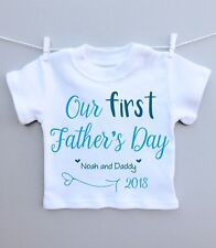 Personalised baby T-shirt top our 1st fathers day daddy present gift