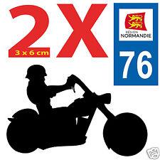 2 Stickers 76 autocollants style plaque immatriculation MOTO 76 REGION NORMANDIE