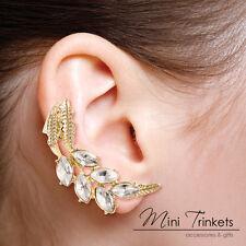 Gold Toned Crystal Diamante Leaf Cartilage Ear Cuff Clip On Wrap Stud Earring