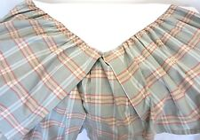 RALPH LAUREN CHAPS KING COTTON BED SKIRT Ruffle Preppy Soft Teal/Salmon Plaid