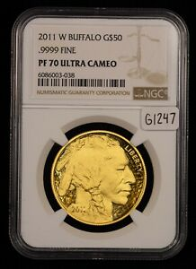 2011-W G$50 1 oz 9999 American Buffalo Gold Coin - NGC PF 70 Ultra Cameo - G1247