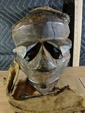 Pende Mbuya Mask with Fabric and Twine — Authentic Handcarved Wood African Art