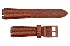 Swatch Replacement 18mm men's Padded Leather Watch Band Strap Brown