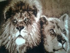 Wall Rug(Tapestry)Lions(Male & Female)-Brown/Tan-4'x5.5'-Internat'l Rug KLAKUsed