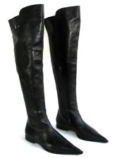 Barbara Bui - Boots Knee Flat Tips Sharp / Pointed Black Leather 38.5/39 New