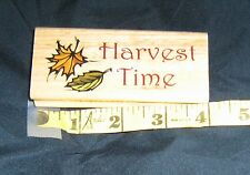 FALL TREE LEAF HARVEST TIME words LARGE Canadian Maple Collections RUBBER STAMP
