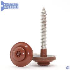 Spenglerschrauben Kupferbraun RAL 8004   15mm Dichtscheibe   A2   Torx Ziegelrot