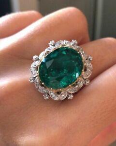 6Ct Oval Cut Emerald Synt Diamond Art Deco Filigree Ring White Gold Finsh Silver