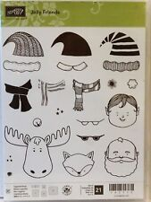 Stampin Up JOLLY FRIENDS photopolymer stamps Christmas santa hat elf moose fox