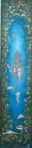 COLLECTIBLE HAITIAN ART PAINTING FAMOUS ANDRE BLAISE FISHES REEFS HAITI 36X08