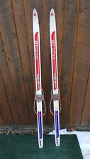 """ANTIQUE Wooden 57"""" Skis Has Colorful Finish with Cable Bindings + Bamboo Poles"""
