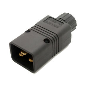 C20 IEC In Line Rewireable Plug  16A Male Black Various pack sizes