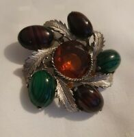 Vintage Exquisite Scottish Thistle Brooch agate Amethyst malachite amber stones