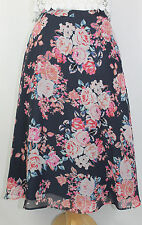 NEW Sz 10 Navy A-Line Skirt Floral Printed Chiffon Lined