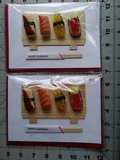 Papyrus Happy Birthday Card Sushi ChopSticks Sashimi Roll FIsh Tuna 3D 2 count